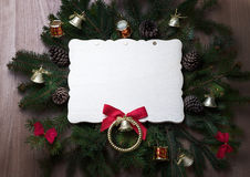 Christmas toys on branches of a Christmas tree with frame Royalty Free Stock Photos