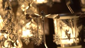 Christmas toys on a Christmas market. Angel Angels and candles. Pradue,Europe stock footage