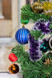 Christmas toys are on the Christmas tree Stock Images