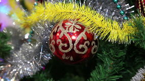 Christmas toys on the Christmas tree stock footage