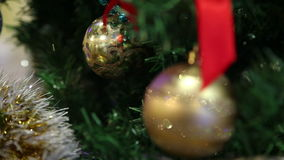 Christmas toys on the Christmas tree stock video footage