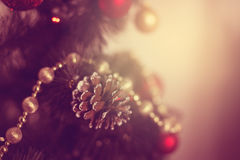 Christmas toys on the Christmas tree Royalty Free Stock Image