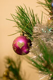 Christmas toys on the Christmas tree. Royalty Free Stock Images