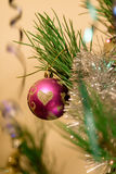Christmas toys on the Christmas tree. Stock Photos