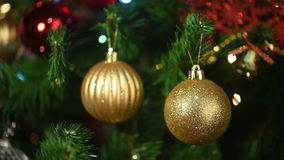Christmas toys on the Christmas tree stock footage