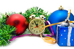 Christmas toys with a clock Stock Photo