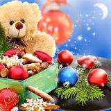 Christmas toys, cookies and an old vinyl record. Royalty Free Stock Photography