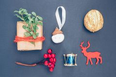 Christmas toys on the dark blue background royalty free stock photos