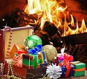 Christmas toys and decorations in wooden box Royalty Free Stock Images