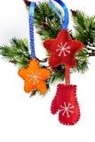 Christmas toys of felt stars handmade from felt Stock Images