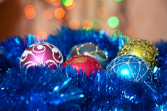 Christmas toys on a fir-tree Royalty Free Stock Photography