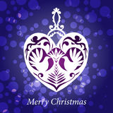 Vector christmas toy handmade heart birds Royalty Free Stock Photo