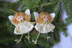 Christmas toys in the form of angels Royalty Free Stock Image