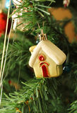 Christmas toys in the form of home. Close up Stock Photos