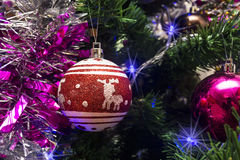 Christmas toys in the form of red ball with deer Stock Photo