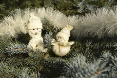 Christmas toys in the form of snowmen Royalty Free Stock Photography