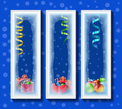 Christmas toys in the framework covered with frost. Stock Image