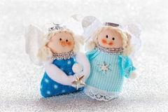 Christmas toys. Christmas fun decorative toys on a snowy background stock photography