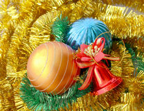 Christmas toys with garland. Christmas decorations and garlands for the holiday background Royalty Free Stock Photo