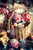 Christmas Toys Gifts Basket Red Balls Boxes Cones Stock Images