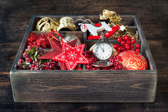 Christmas toys and gifts in vintage wooden box Stock Photos