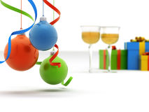 Christmas toys, gifts and wine Royalty Free Stock Image