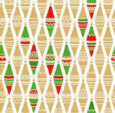 Christmas toys, gold, red, green, white background, seamless. Stock Photo