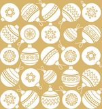 Christmas toys, Golden background, seamless, Christmas balls, monochrome. Royalty Free Stock Images