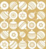 Christmas toys, Golden background, seamless, Christmas balls, monochrome. Royalty Free Stock Images