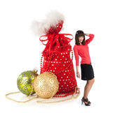 Christmas toys and happy girl Royalty Free Stock Photo