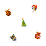 Christmas toys icons isolated on white background. Colorful and graphic Christmas toys icons of balls and xmas tree isolated on white background Royalty Free Stock Photo