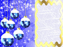 Christmas toys  - Illustration. Blue Christmas background with beautiful balls Royalty Free Stock Images