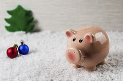 Christmas toys pig symbol of the new year on the background of snow 4 royalty free stock photo
