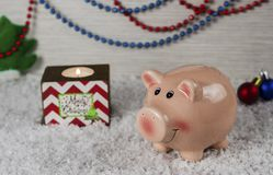 Christmas toys pig symbol of the new year on the background of snow 3 stock image