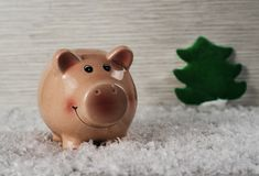 Christmas toys pig symbol of the new year on the background of snow 5 royalty free stock photo