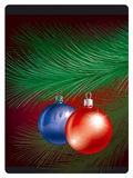 Christmas toys on pine bransh Stock Photography
