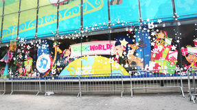Christmas at Toys R Us. Christmas decorations at the Toys R Us store in Times Square in NYC Stock Image