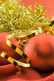 Christmas toys on a red Stock Images