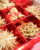Christmas toys in red box. Holiday background Royalty Free Stock Photo