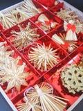 Christmas toys in red box. Christmas toys in red box, holiday background Stock Images