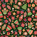 Christmas toys. Seamless pattern. Holiday background. Best for greeting car. Ds, invitations, wrapping paper Stock Image