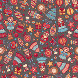 Christmas toys. Seamless pattern. Holiday background. Best for greeting card Stock Images