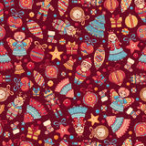 Christmas toys. Seamless pattern. Holiday background. Best for greeting card Stock Photo
