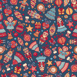 Christmas toys. Seamless pattern. Holiday background. Best for greeting card Royalty Free Stock Image