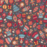 Christmas toys. Seamless pattern. Holiday background. Best for greeting card Stock Photos