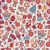 Christmas toys. Seamless pattern. Holiday background. Best for greeting card Royalty Free Stock Photography