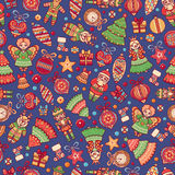 Christmas toys. Seamless pattern. Holiday background. Best for greeting cards Royalty Free Stock Images