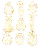 Christmas toys set golden isolated. Vector christmas toys set golden isolated Royalty Free Stock Photography