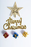 Christmas toys. Shape of christmas tree from the toys for decoration Stock Photography