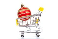 Christmas toys in shopping cart Stock Photography